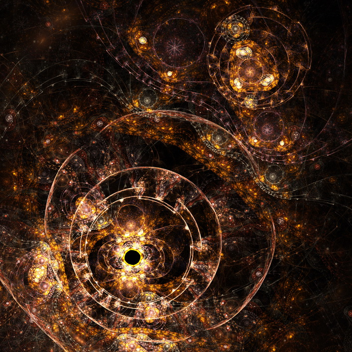 Fractal artwork, abstraction of a clockwork, a time machine