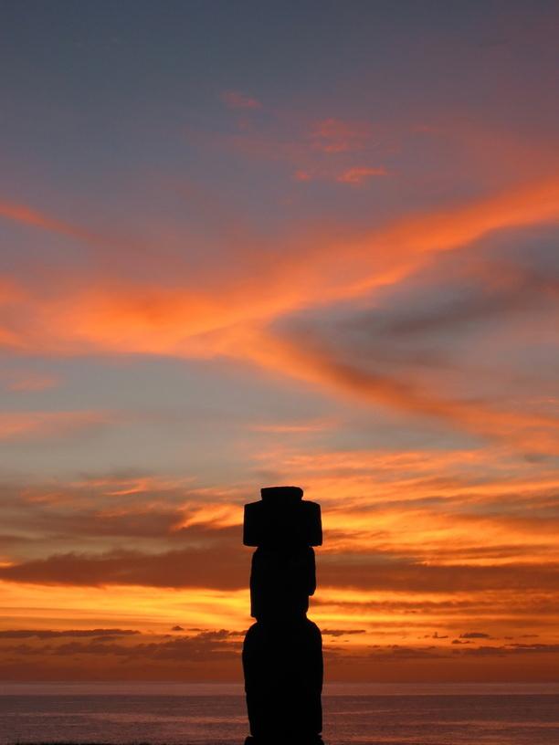 Ahu Tahai. Moai of Easter Island at dusk