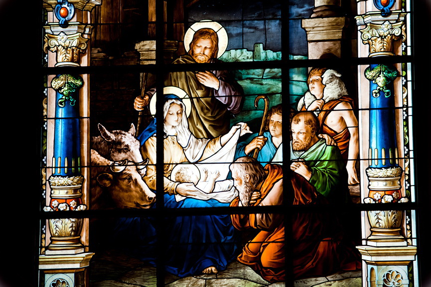 Stained glass window created by F. Zettler (1878-1911) at the German Church (St. Gertrude's church) in Gamla Stan in Stockholm, depicting the Nativity Scene