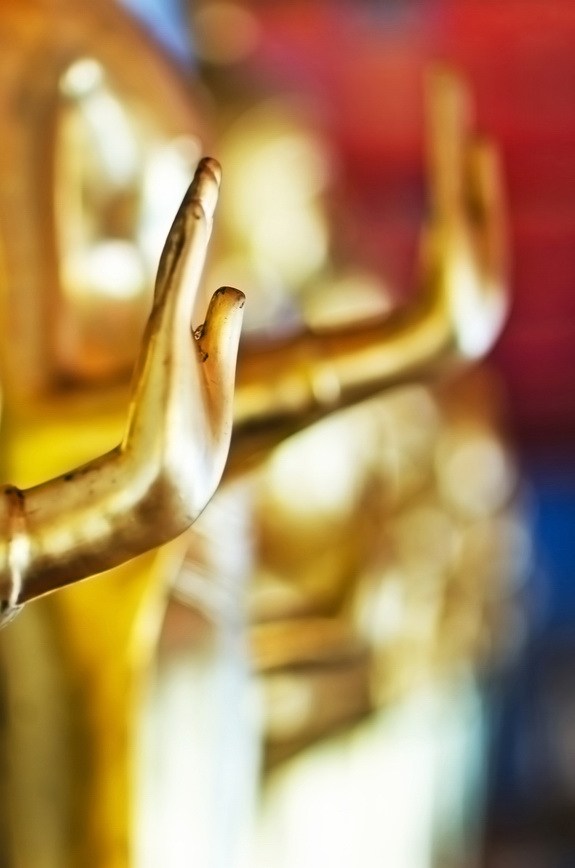 Buddha golden statue blessing hand, Wat Pho, Thailand