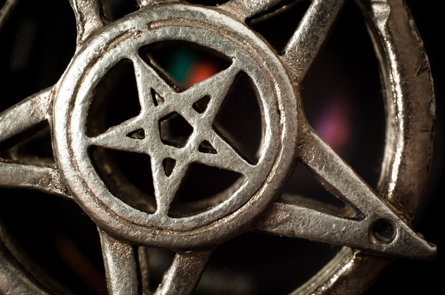 Pentagram with reflection macro shot